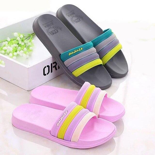3c179cefe Summer Slides Women Slippers Lovely Rainbow Beach Slippers Platform Slip on  Sandals Women Shoes Flip Flops Zapatillas Mujer