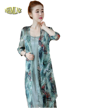 2017 Summer New Fashion 2 PCS Women Dress Floral Print Mid-Calf  Length O-neck Half Sleeves Loose Style Beach Casual Dress OK400