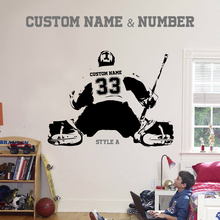 Hockey Goalie & Large Ice Player Choose Jersey Name And Numbers Wall Sticker Vinyl DIY Home Decor Sport Decals Kids Room