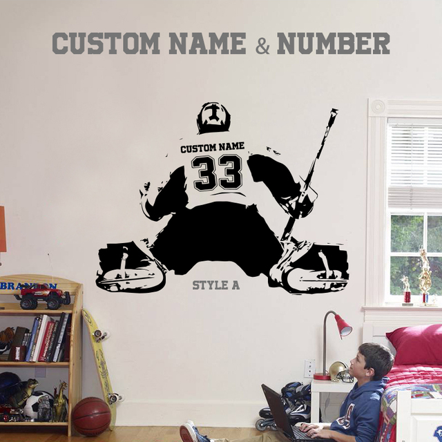 Hockey goalie large ice hockey player choose jersey name and numbers wall sticker vinyl diy