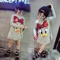 Primavera Outono Meninas Vestido de Desenho Animado do Pato Donald Lantejoulas Vestido de Princesa Roupa Das Crianças Da Menina Da Criança Da Escola de Moda Casual Vestido