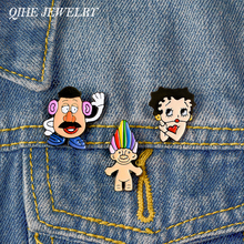 QIHE JEWELRY Betty Enamel pin Betty Boop Lapel pin Animated Cartoon Character Pins up Badges Brooches for Wome Girl betty barclay блузка