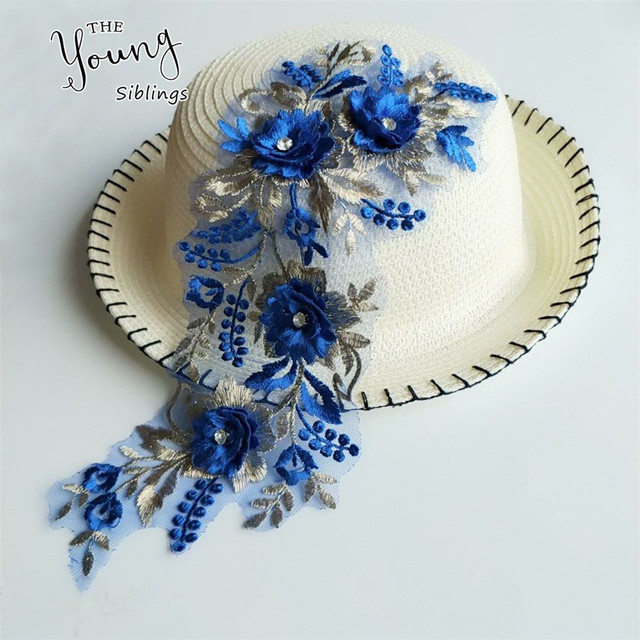 Синий 3D кружева цветок Швейные аксессуары DIY свадебное платье изготовление Материал дизайн одежды Декор кружевной воротник декольте аппликации