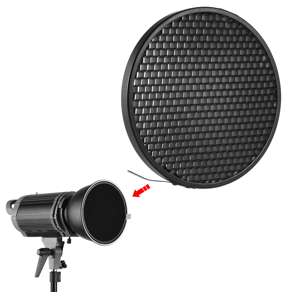 Haoge 7 Standard Reflector Diffuser Lamp Shade Dish For: Photo Studio 16.8cm 60 Degree Honeycomb Grid For 7