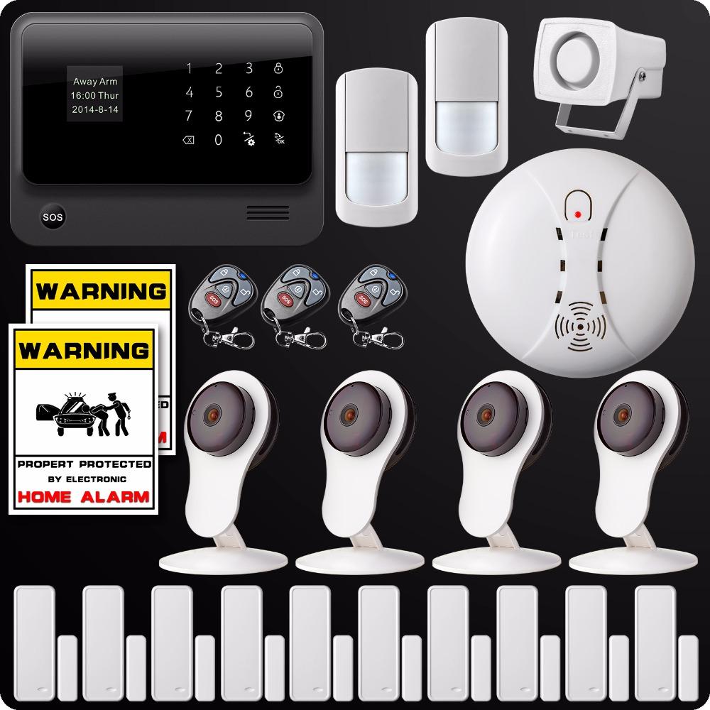 DHL EMS Free Shipping GSM SMS GPRS WiFi Home Burglar Alarm Security System 720P IP Onvif  Camera System Wireless Smoke Detector dhl shipping tele call lcd gsm sms home burglar security alarm system detector sensor remote control voice broadcast s100pro