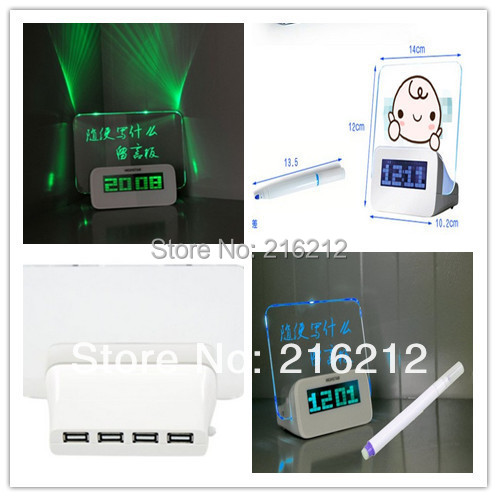 Beruhigen räkelte multifunktionale leuchtende neon-nachrichtenbrett uhr elektronische uhr projektion alarm