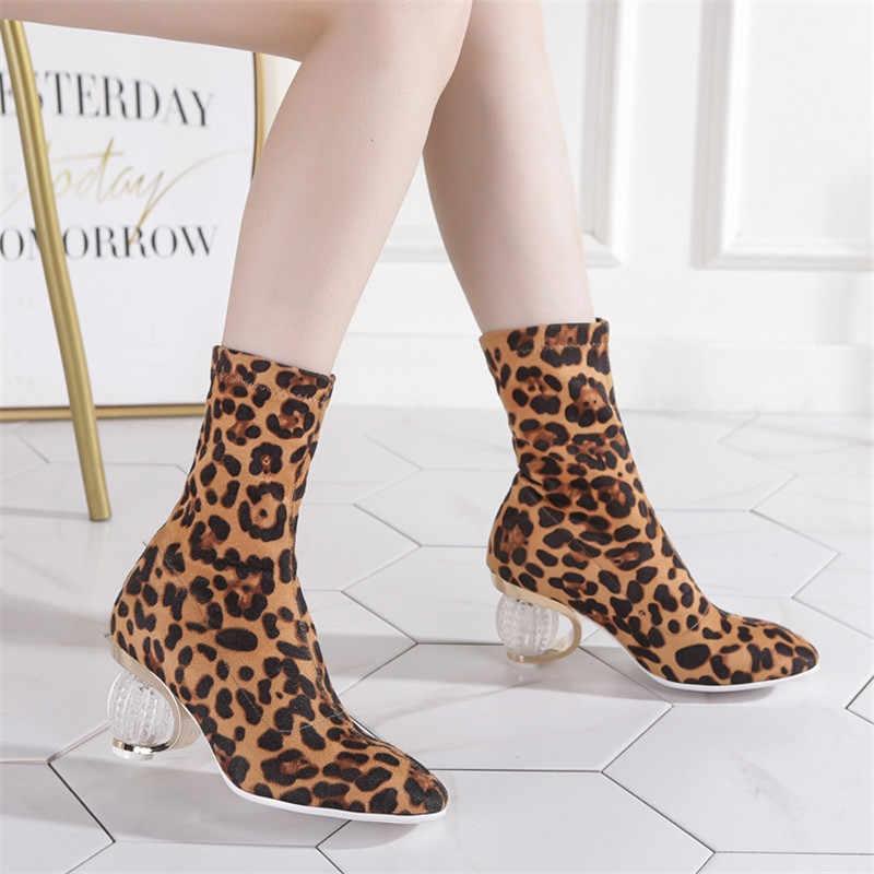 ASUMER 2019 nieuwe enkellaarsjes voor vrouwen vierkante teen transparant kristal hakken dames prom schoenen Luipaard Print herfst winter laarzen