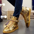 Quality Men Leather Shoes 2017 Winter High Top Snakeskin Gold Design Men Shoes Hip Hop Snakeskin Mens Joggers Zapatillas Homme
