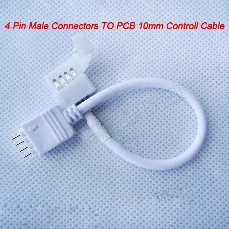 цена на Free shipping 10/20/50/100 pcs/pack 4 Pin Male Connector Cable to 10mm 4PIN PCB Controll Cable for Flexible 5050 RGB LED Strip