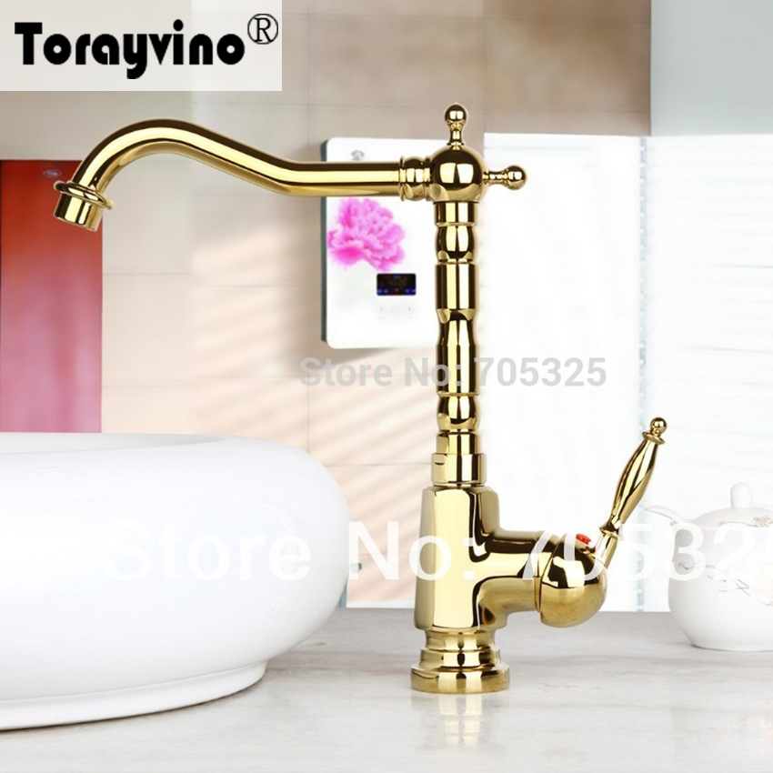 Torayvino bathroom basin faucet Ceramic  Single Handle  Deck Mounted   Golden Polish Bathroom Basin & Sink Mixer Tap Faucet luxury wall mounted bathroom basin faucet single handle golden finish sink mixer