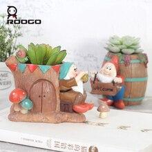 Roogo The New European pastoral style fairy tale dwarves succulent plant potted plants flower pot Home decor living room balcony