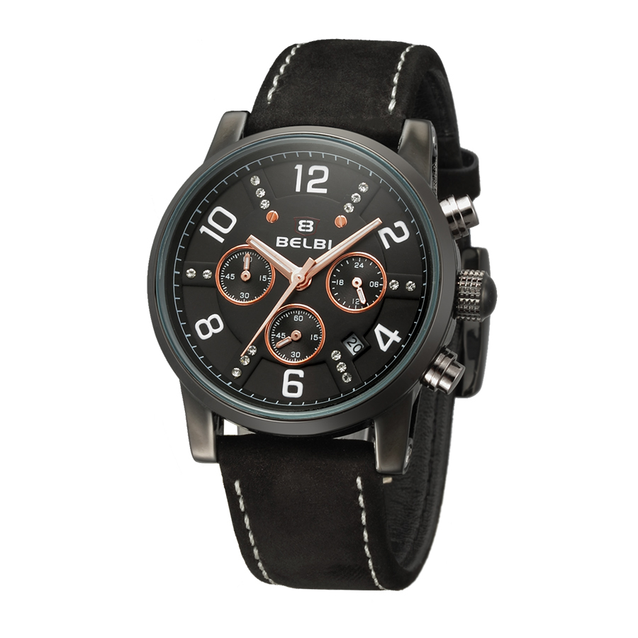 ФОТО BELBI Casual Chronograph Sports Watch Men Top Brand Luxury Quartz Watch Male Reloj Leather Strap Wristwatches Relogio Masculine