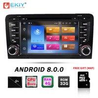 Ekiy 7 Восьмиядерный Android 9,0 2 Din Автомобильный мультимедийный автомобильный радиоприемник проигрыватель DVD для Audi A3 S3 gps навигации Bluetooth Wifi 4G 32G