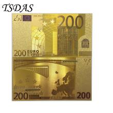 Sprzedaż hurtowa 10 sztuk partia kolorowe grafiki europa 200 Euro złoty banknot 24K złota Euro waluty prezenty biznesowe tanie tanio TSDAS Patriotyzmu Metal