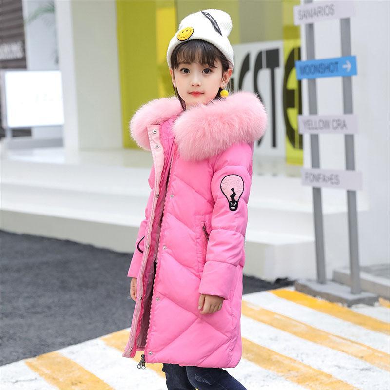 Children's Clothing Girls Winter Down Jacket 2017 Baby Kids Long Fur Hooded Outerwear Toddler Girls Warm Padded Cotton Coat