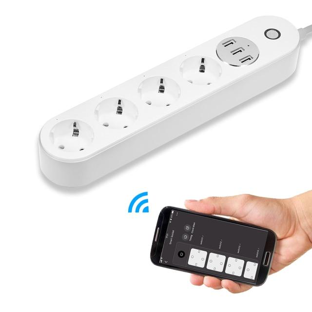 WiFi gniazdo Smart Power Strip głos zegar sterujący przełącznik gniazdo zasilania z 4 gniazda AC 3 Port USB dla Alexa google Home