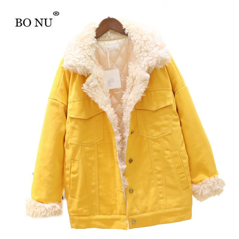Winter Lamb Fur Jacket Women Warm Fur Yellow Red Loose Parka New Winter Long Parka Female Winter Bomber Jacket Warm Jacket Women