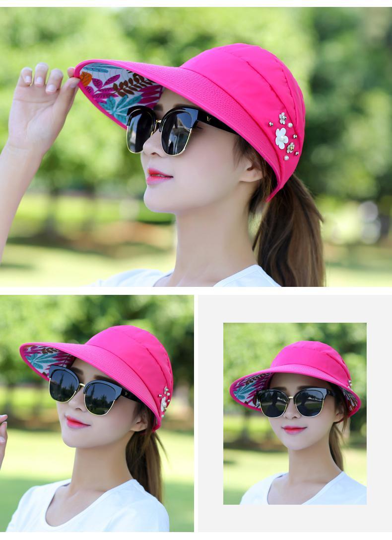 c9e562a84bc 2018 Hot 1PCS women summer Sun Hats pearl packable sun visor hat ...
