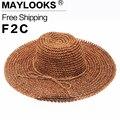 Estilo CALIENTE de verano gran ala del sombrero de paja mujeres niñas gafas de sol de moda uv proteger gran sombrero de playa del verano del arco HN09