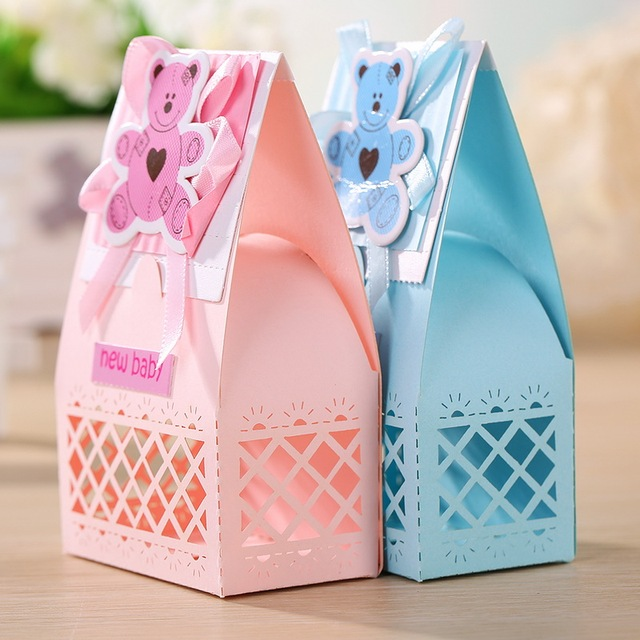 Pink And Blue Cute Baby Favors Boxes Baptism Favors Baby Shower Favors  Gifts Box Party Favor