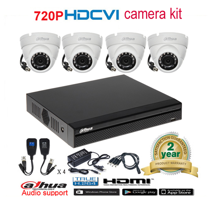 Dahua original 720P DHI HAC HDW1100M waterproof CVI IR Dome Security Camera with H 264 4CH