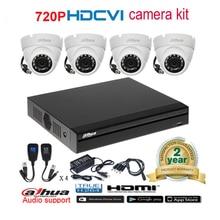 Dahua original 720P DHI-HAC-HDW1100M waterproof CVI IR Dome Security Camera with H.264 4CH CVI DH-XVR4104HS camera kit