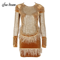 2017 New Elegant Dubia Black Gold Party Dress Feather Appliques Beading Diamonds Long Sleeve Off Shoulder