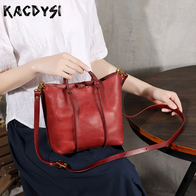 Vegetable Tanned Leather Design Handmade Retro Trend Girl Literary Handbag Luxury Real Leather Small Tote Shoulder
