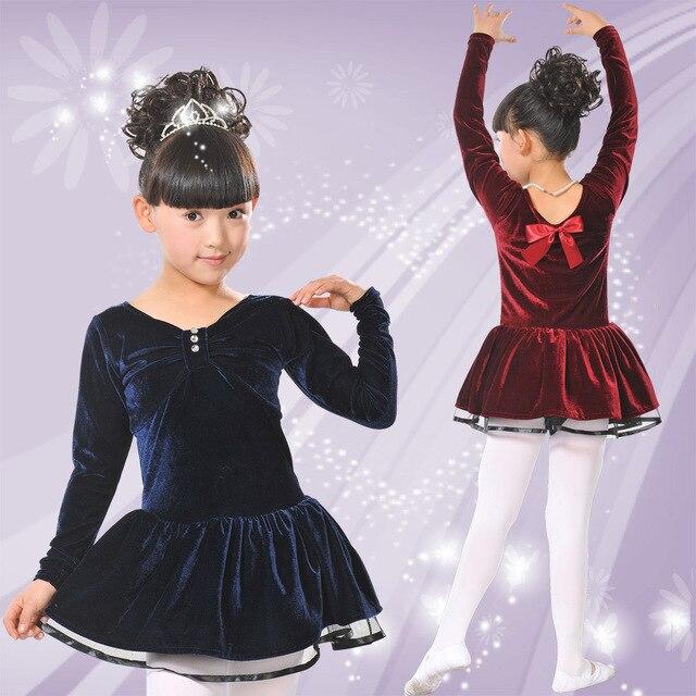New Autumn winter gold velvet children s ballroom stage clothing girls  Latin dance dress long-sleeved dress perfoming costumes 416b0602173f