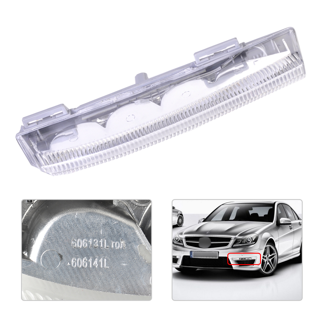 1Pc New Daytime Running Lamp Fog Light Left Side 2049068900 204 906 89 00 Fit for Mercedes Benz W204 W212 R172 july king 1pc left driver side fog light lamp case for mercedes benz r171 w164 w203 w204 w216 w230 w253 amg aftermarket