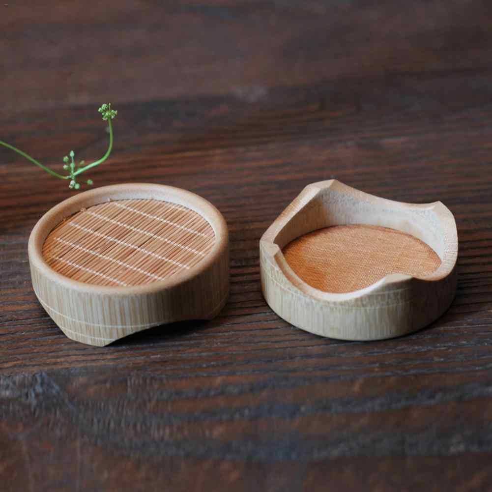 Портативный натуральный круглый бамбуковый чайник подставка подстаканник изоляция подстаканник подставка для чашки Кунг Фу Пуэр чайная доска держатель чайника подарок