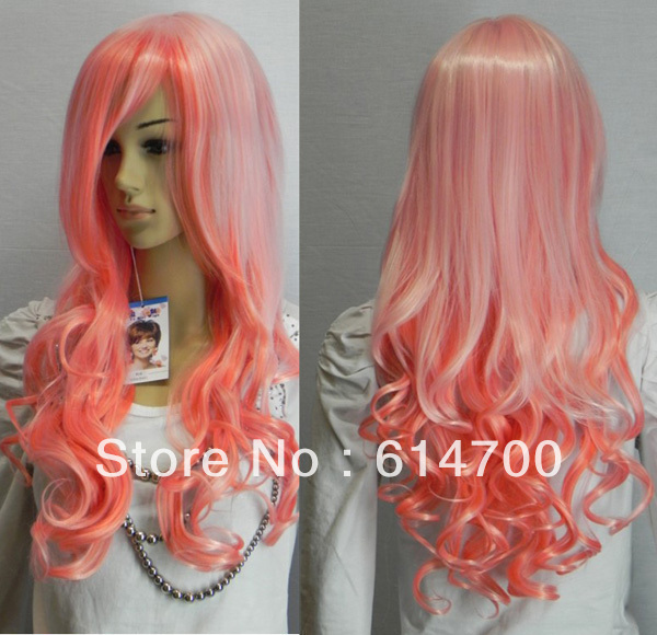 New Beautiful Long Pink Mixed Curly Hair Women Wig On