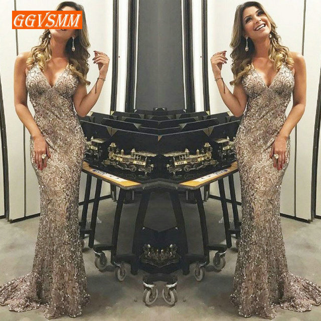 Stylish apricot Mermaid Evening Dress Long 2019 Evening Gowns Women V-Neck Lace Zipper Ankle-Length bodycon club Party Dresses