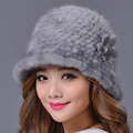 2016 New Mink Fur Winter Hat with A Flower Women Winter Outdoor Thicken Warm Knit Mink Caps