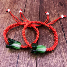 Luxury Coloured Glaze Cuff Bracelets Chinese Cabbage Red Rope String Bracelets Friendship Wish Men and Women Hand Catenary(China)