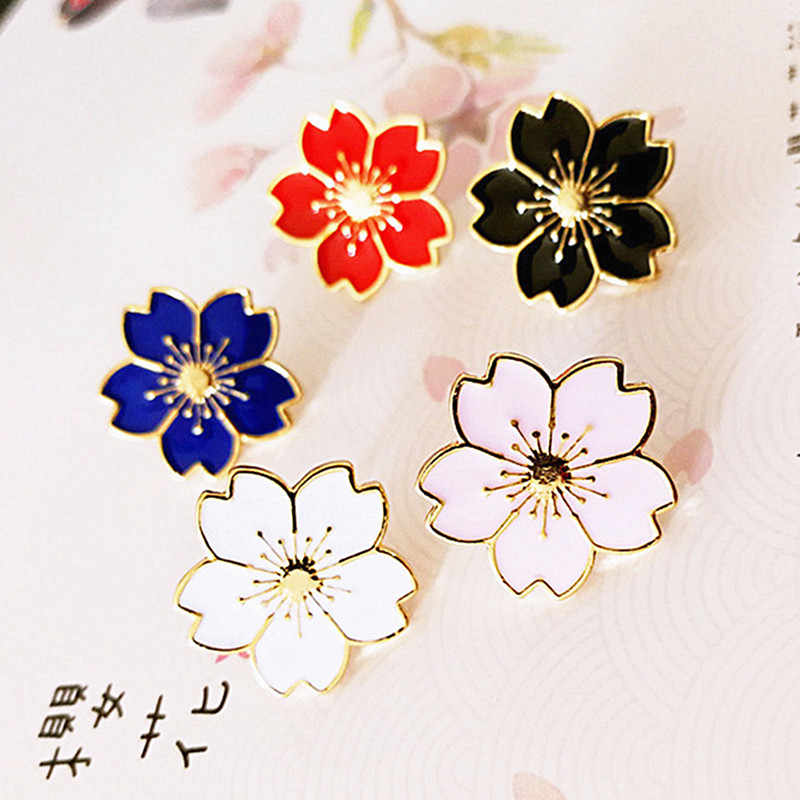 Fashion Japanese Style Beautiful Cherry Blossoms Uniform Badge Denim Tops Pin Button Flower Brooch Pins Jewelry Gift for Girl