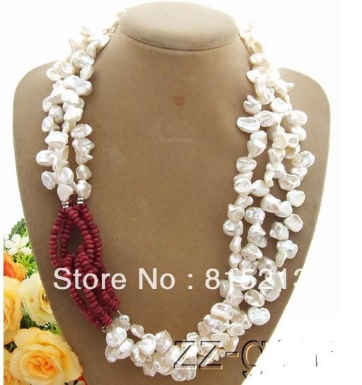 купить Hot selling> HOT324 3Strds White Keshi Pearl&stone Necklace -Bride jewelry free shipping онлайн