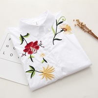 Floral Embroidered Blouse Shirt Women Slim White Tops Casual Long Sleeve Blouses Cotton Woman Office Shirts