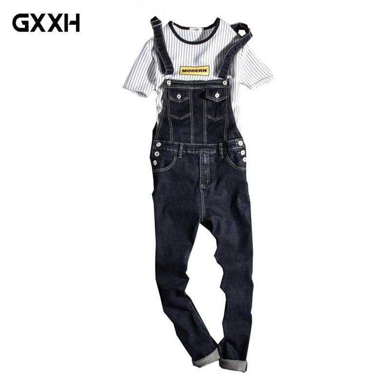 Collectie Hier Nieuwe 2018 Fashion Vintage Design Pocket Jeans Denim Overalls Mannen Casual Wassen Skinny Bib Overalls Jeans Mannelijke Blauwe Jumpsuit Jean