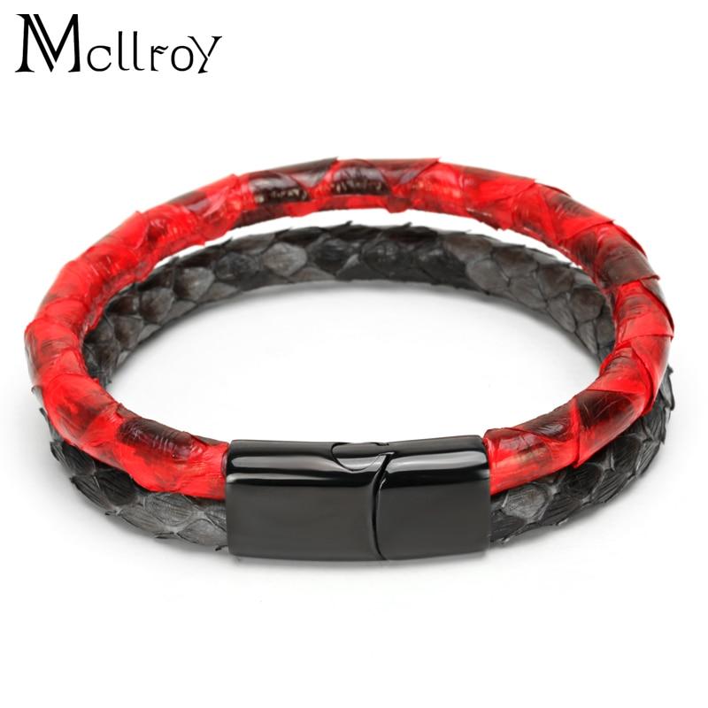 Mcilroy 6mm Serpent peau Bracelet Hommes En Acier Inoxydable Bracelet En Cuir Avec Boucle Magnétique Claps Double leathe bracelet Pour Les Femmes