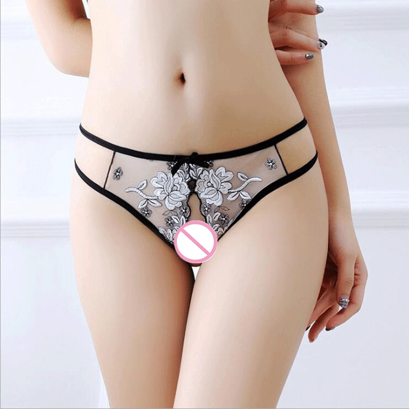 Sexy Female Open Crotuch Briefs Sexy   Panties   Women Embroidery Lace Underwear Womens Underware For Lady Lingerie Intimates