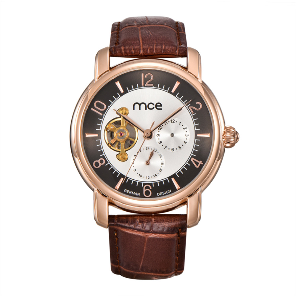 2017 Fashion Luxury Brand MCE leather Tourbillon Watch Automatic Men Wristwatch Men Mechanical steel Watches relogio masculino цена