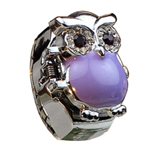 Trend Inventive Retro Owl Clamshell Ring Rhinestone Watch Purple