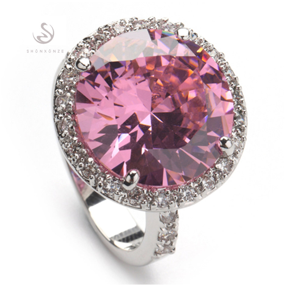 SHUNXUNZE wedding fashion rings for women 2018 Purple blue Rainbow Pink Cubic Zirconia Rhodium Plated R147 R482 R485 R735 R750