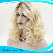 front lace wigs Long Bodywave Blonde Synthetic Lace Front Wig Glueless Ombre Dark Brown/Blonde Heat Resistant Hair Women Wigs