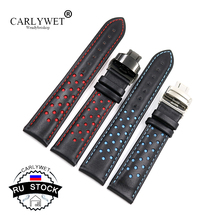 CARLYWET RU STOCK Cowhide Leather Handmade Black Red Blue Replacement Wrist Watch Band Strap Double Push Clasp