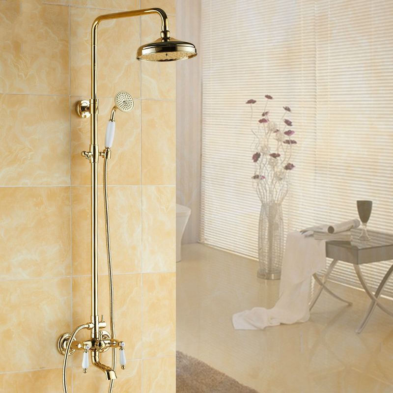 Antique Gold Copper Shower Set With Double Handle European Polished Shower Cold And Hot Wall Mounted Bathroom Shower Suit Wb3 washroom bathroom double toothbrush holder gold european style copper tumbler
