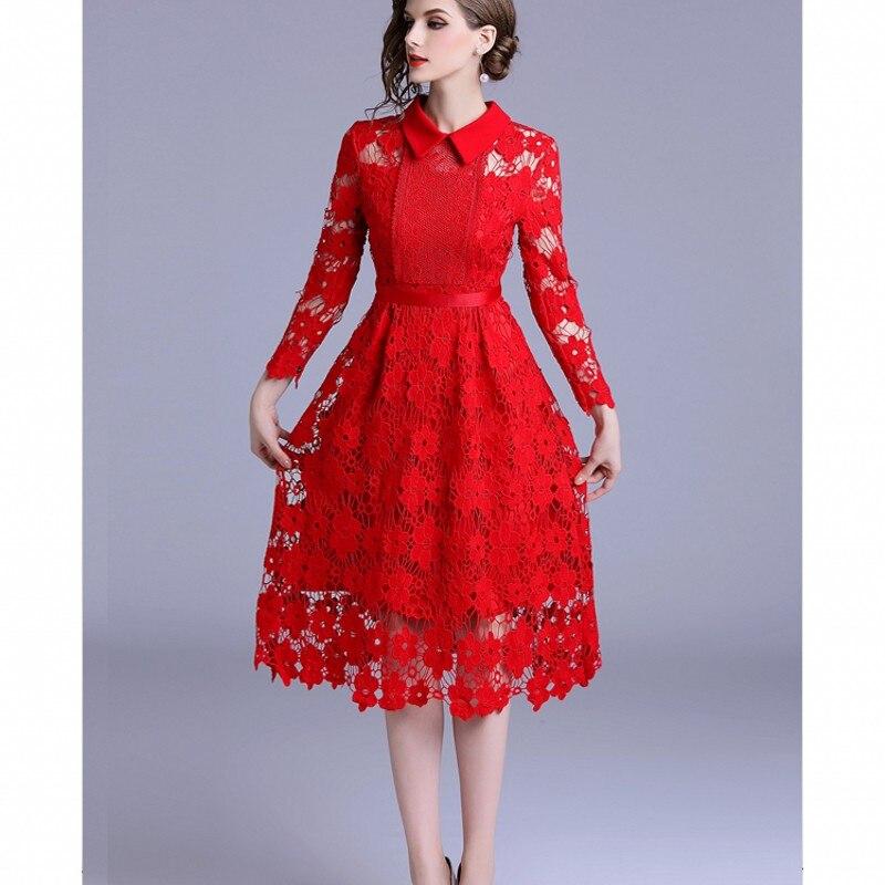 d2e32145557 Mi Robe Pour Noël Mince Sexy De 2019 Dentelle Robes Manches mollet Élégantes  Femmes Longues À Rouge Soirée n4Svv1qx