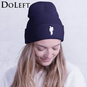 2019 Billie Eilish Beanie Knitted Hats Unisex Solid Hip-hop Skullies Knitted Winter Hat 12 Colours Outdoor Casual Sport Cap