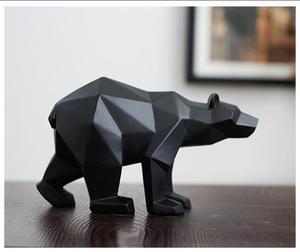 Image 1 - ブラックパンサー彫刻幾何樹脂ヒョウ銅像動物の装飾のギフトクラフト装飾アクセサリー家具クマの彫像